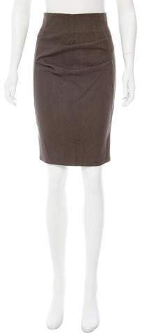Brunello Cucinelli Suede Pencil Skirt w/ Tags