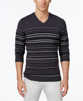 Alfani Men's Striped V-Neck Sweater, Only at Macy's