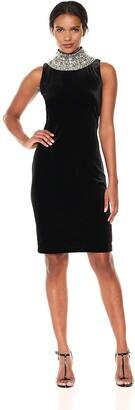 SL Fashions Women's Velvet Beaded High Neck Dress