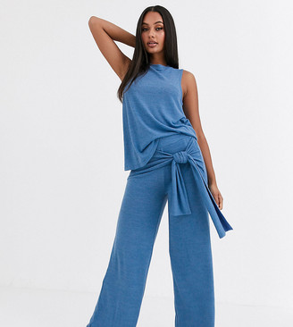 Loungeable mix & match wide leg tie front lounge trouser-Blue