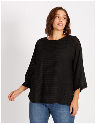 Regatta Etched Magyar 3/4 Sleeve Sheer Top With Body Lining