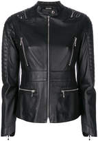 Just Cavalli embroidered back zip detailed leather jacket