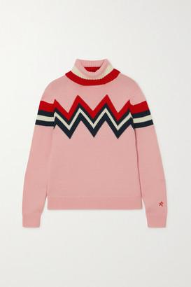 Perfect Moment Varde Intarsia Merino Wool Turtleneck Sweater - Pink
