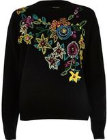 River Island Womens Black knit floral embroidered sweater