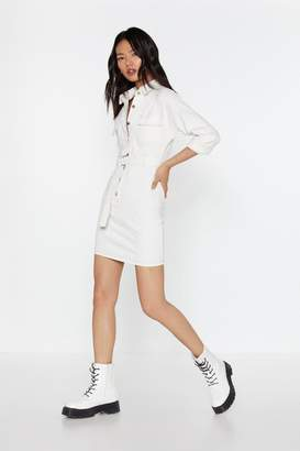 Nasty Gal Womens Lay Button-Down The Law Denim Shirt Dress - White - L, White