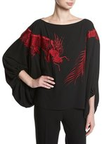 Josie Natori Silky Caftan Top w/ Dragon Embroidery