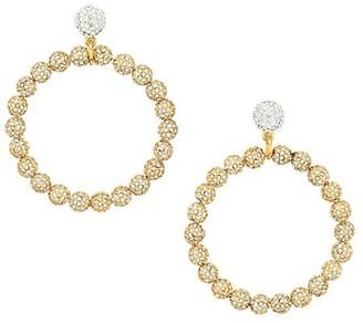 Lele Sadoughi Two-Tone & Crystal Large Drop Hoop Earrings