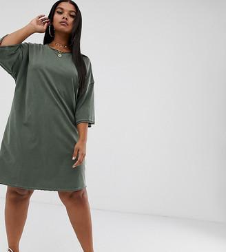 Asos DESIGN Curve oversized t-shirt dress with raw edge