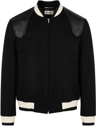 Saint Laurent Teddy Black Wool-blend Bomber Jacket