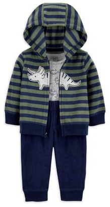 Child of Mine by Carter's Baby Boy Hooded Fleece Cardigan and Fleece Pant Outfit Set, 3pc