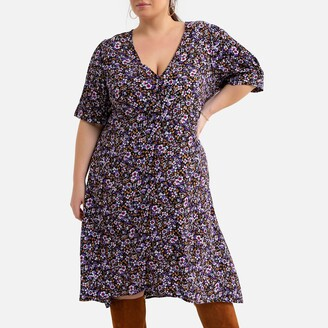 La Redoute Collections Plus Floral Print Midi Dress with Short Sleeves
