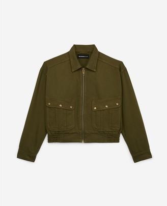 The Kooples Cotton khaki rock-style jacket w/pockets, zip