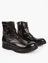 Officine Creative Black Lowri Leather Commando Boots