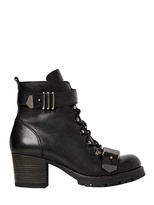 60mm Leather Lace Up Ankle Boots