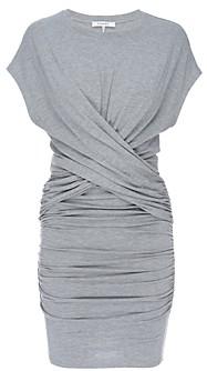 Frame Shirred Cross Front Mini Dress