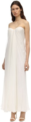 Alexander McQueen Draped Silk Chiffon Long Dress