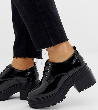Asos Design DESIGN Wide Fit Survivor chunky mid-heels in black patent