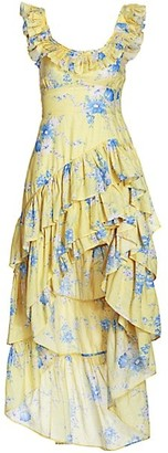 LoveShackFancy Winslow Floral Asymmetrical High-Low Dress