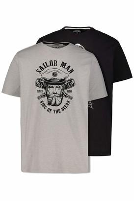 JP 1880 Men's Big & Tall T-Shirt 2 Pack Light Grey Black XXXXXX-Large 726644 10-6XL