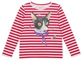 Gucci Girl's 'Cat & Bees' Stripe Long Sleeve Tee