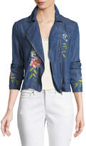 Neiman Marcus Embroidered Chambray Moto Jacket