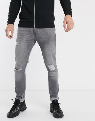 Topman organic skinny jeans in grey