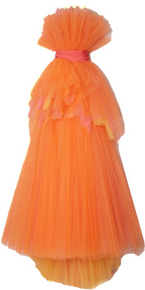 Carolina Herrera Tiered Tulle Strapless Gown