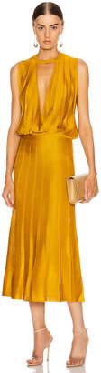 Cushnie Sleeveless Midi Length Knit Dress in Antique Gold   FWRD