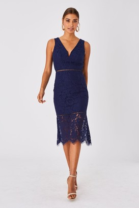 Girls On Film Virtue Navy Lace Peplum Midi Dress