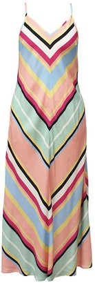 Nooki Design Rainbow Bias Cut Stripe Dress