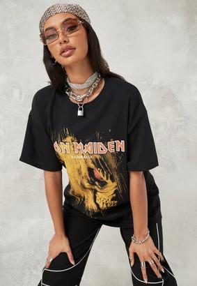 Missguided Black Washed Iron Maiden Oversized T Shirt
