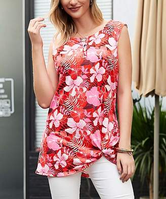 Reborn Collection Women's Tunics Red - Red & Pink Tropical Sleeveless Side Knot Tank - Women & Plus