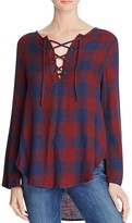 Bella Dahl Plaid Lace-Up Top