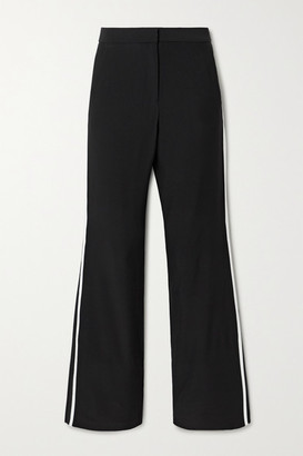 La Ligne Le Tuxedo Two-tone Crepe Wide-leg Pants - Black