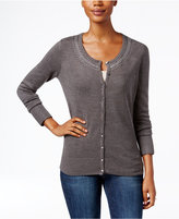 Karen Scott Petite Luxsoft Embellished Cardigan, Only at Macy's