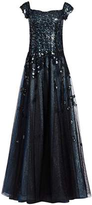 Rene Ruiz Collection Off-The-Shoulder Sequin A-Line Gown