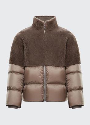 Moncler + Rick Owens Shearling Bi-Fabric Puffer Coat
