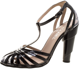 Chanel Black Patent Leather and PVC Architectural T-Strap Sandals Size 37.5