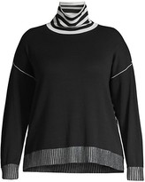Thumbnail for your product : Joan Vass, Plus Size Mockneck Stripe Knit Sweater