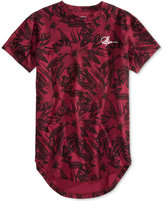 Young & Reckless Men's Topiary Extended-Hem Floral-Print Cotton T-Shirt