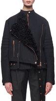 Proenza Schouler Shearling-Trimmed Twill Moto Coat