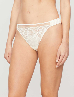 Calvin Klein Spring embroidered low-rise stretch-lace thong