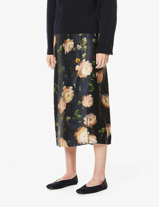 Vince Rose silk midi skirt