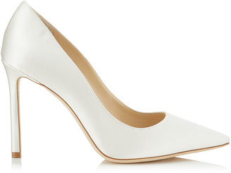 Jimmy Choo ROMY 100 Ivory Satin Pointy Toe Pumps