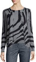 Escada Zebra-Print Crystal-Button Cardigan, Multi