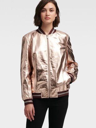DKNY Metallic Leather Bomber Jacket