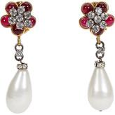 One Kings Lane Vintage Chanel Purple Flower & Pearl Earrings - Vintage Lux - purple/pearl/crystal/gold