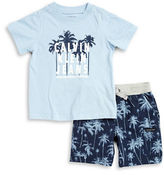 Calvin Klein Jeans Boys 2-7 Little Boy's Palm Tree Tee and Shorts Set