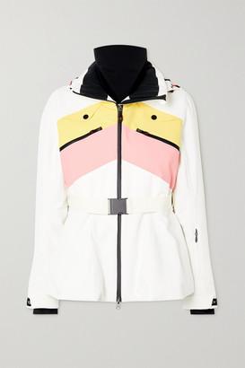 Perfect Moment Niseko Hooded Belted Striped Peplum Ski Jacket - White