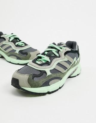 adidas Temper Run trainers in grey & green